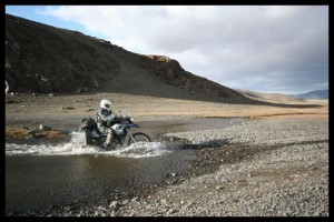 Heather crossing yet another river - Mongolia